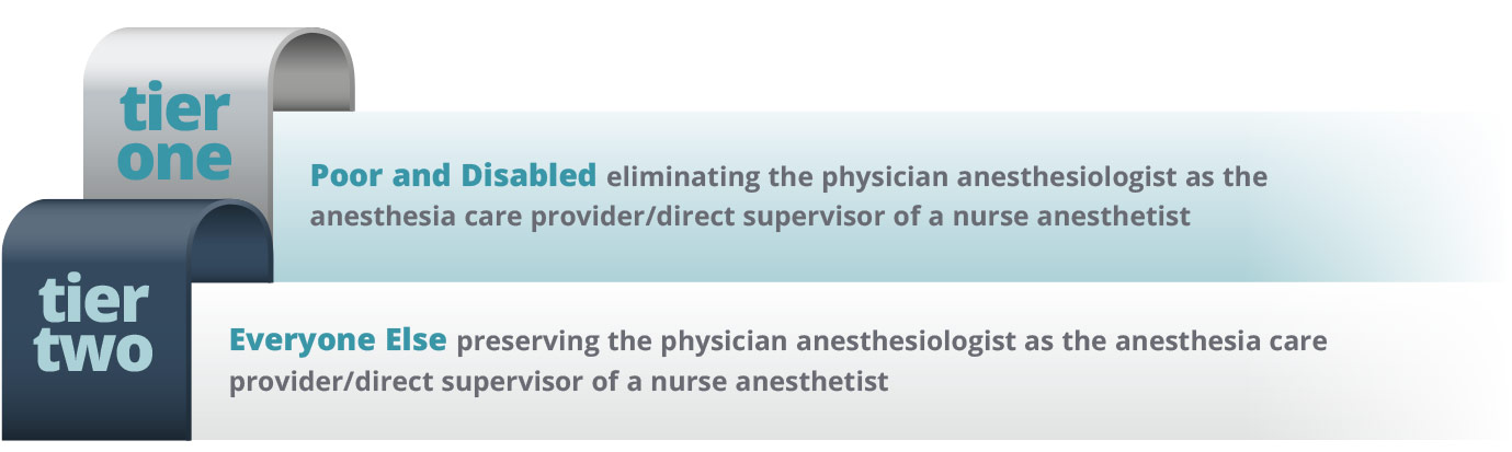 2 tier system of anesthesia care for Medicaid in NY.